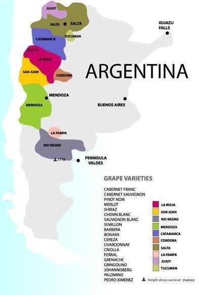 Carte des vignobles en Argentine